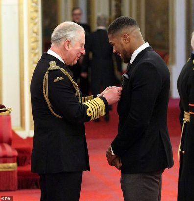 Anthony Joshua awarded OBE by Prince Charles airnewsonline