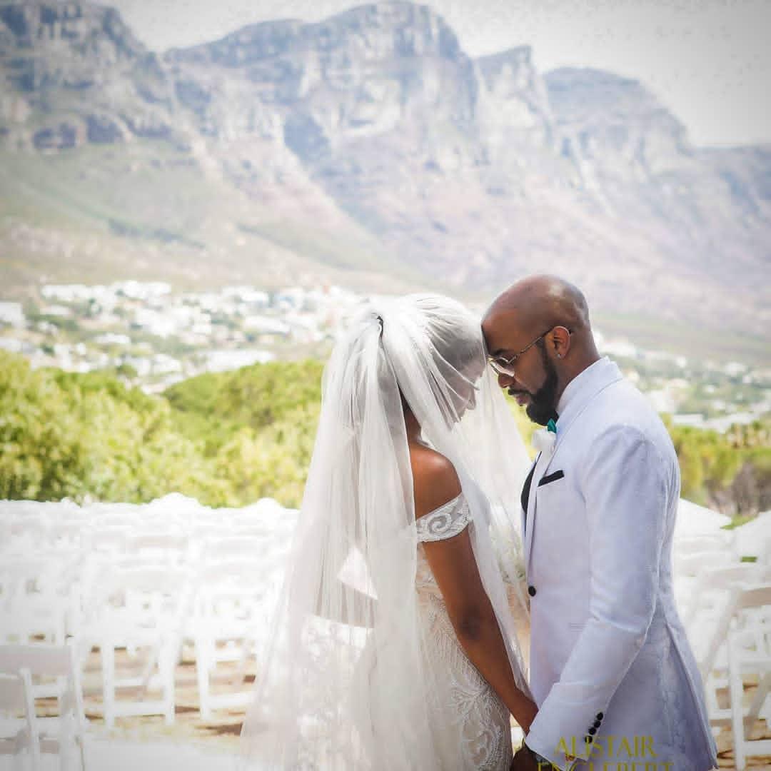Banky W and Adesua Etomi celebrate 1st white wedding