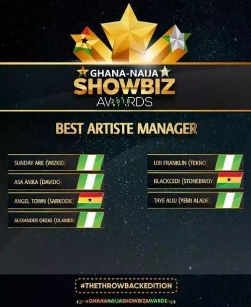 Blakk Cedi wins artiste manager of the year award at Ghana Naija Showbiz Awards 2018