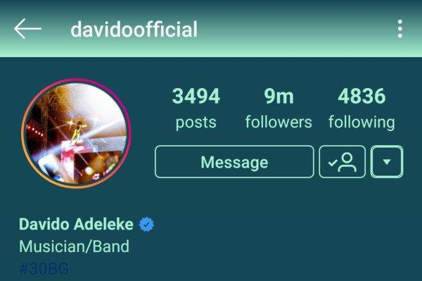Davido hits 9 million Instagram followers | Airnewsonline