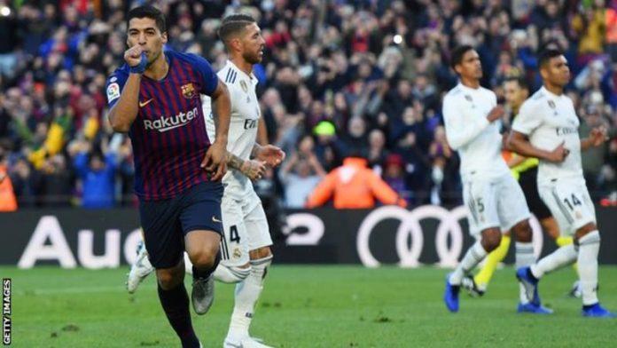 El clasico Barca v Madrid Luis Suarez