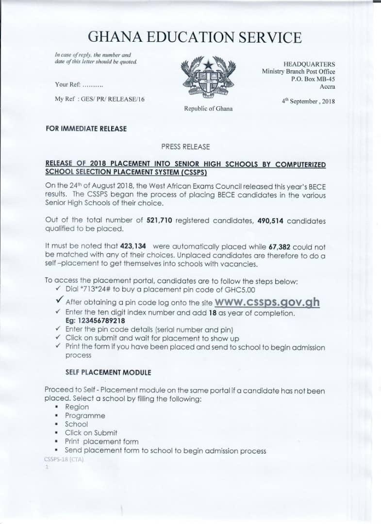 Ghana education service double track timetable