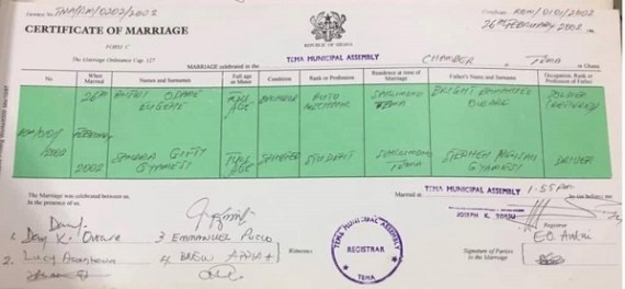Gifty gyan marriage certificate