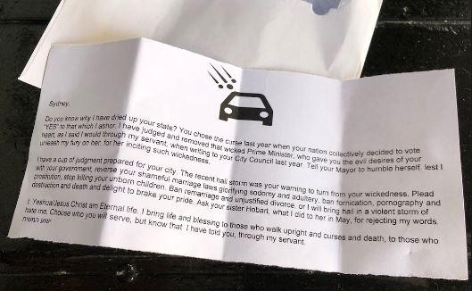 Homophobic letter from Jesus found in Sydney Australia airnewsonline