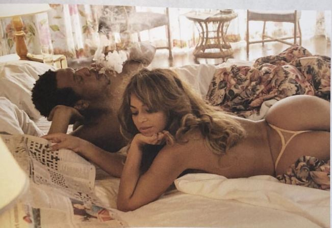 Jay-Z and Beyonce in racy pose