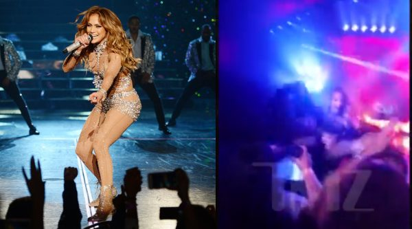 Jennifer Lopez falls on stage