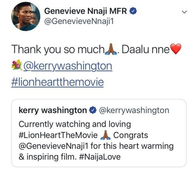 Keri Washington congratulates Genevieve Nnaji | Airnewsonline