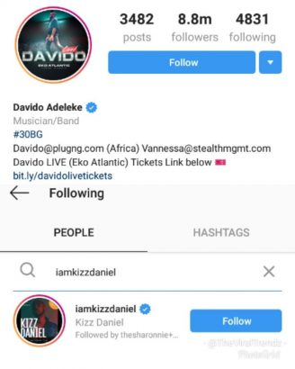 Kizz Daniel unfollows Davido on Instagram airnewsonline