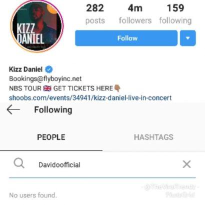 Kizz Daniel unfollows Davido on Instagram