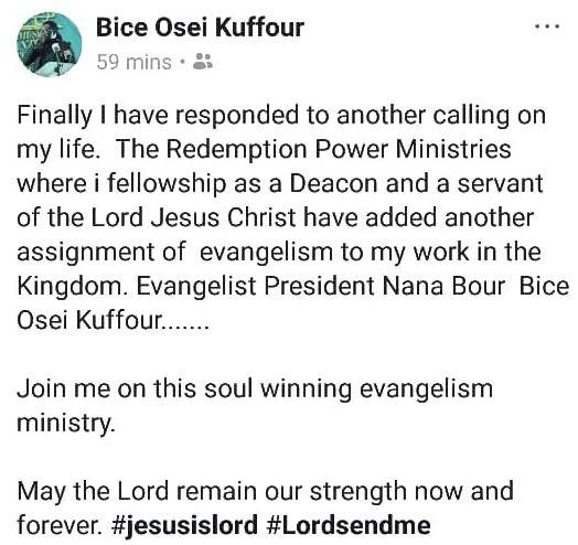 MUSIGA boss Obour receives calling now evangelist