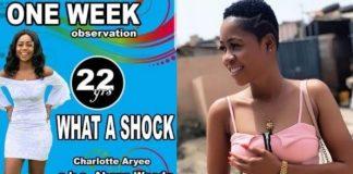 One week observation poster of Charlotte Abena Woodey
