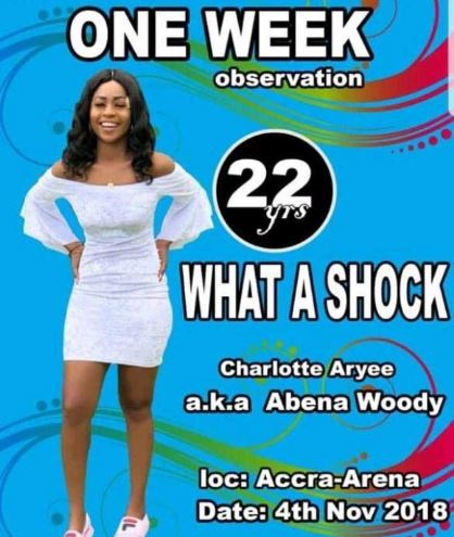 One week observation poster of Charlotte Abena Woodey hits social media airnewsonline