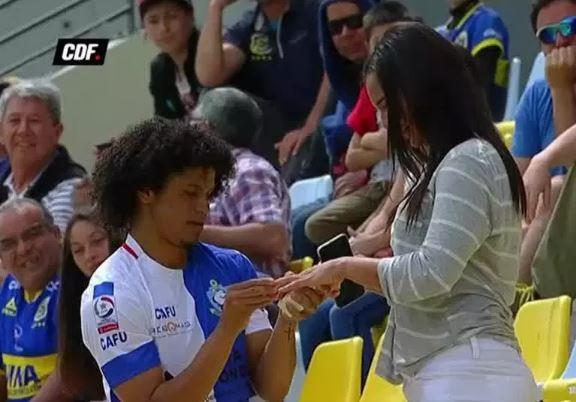 Player booked for proposing to girlfriend after scoring