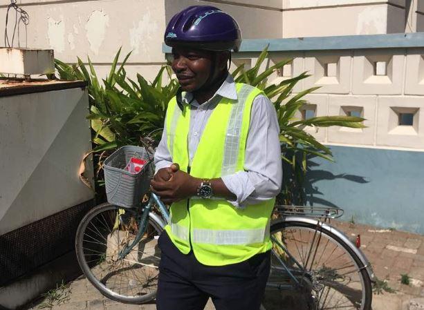 Ras Mubarak storms Parliament on a bicycle airnewsonline