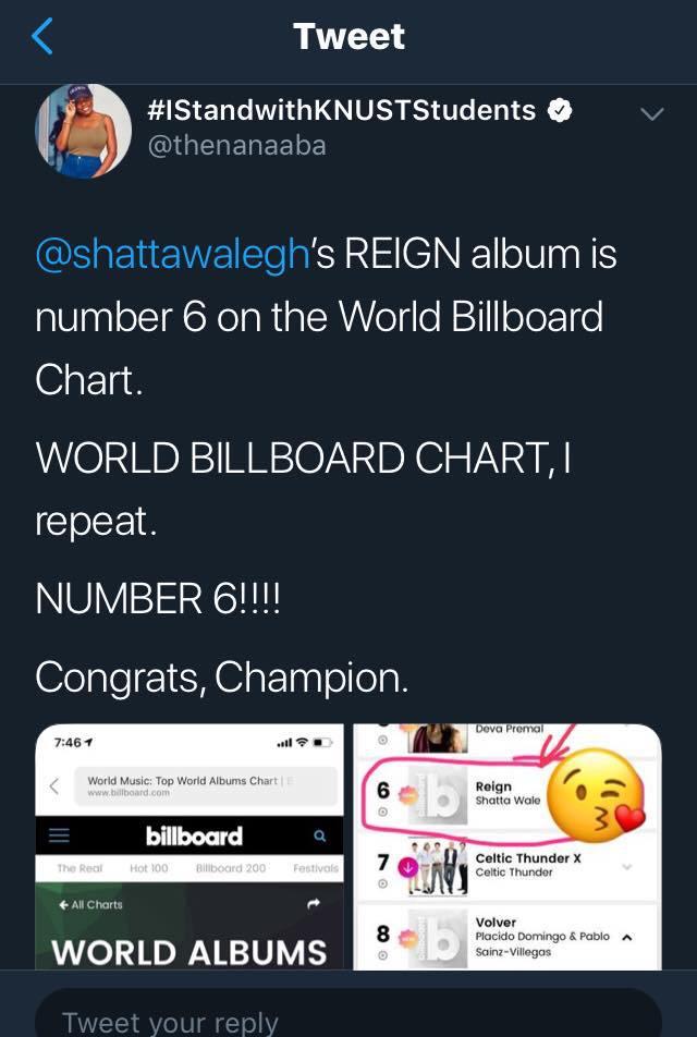 Reign Album on Billboard World Album Charts