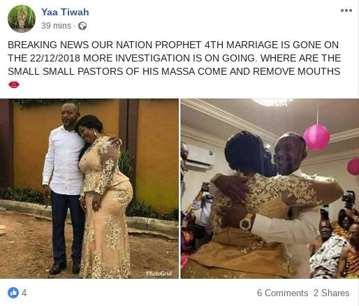 Rev Owusu Bempah divorces wife just after 6 months of his 4th marriage