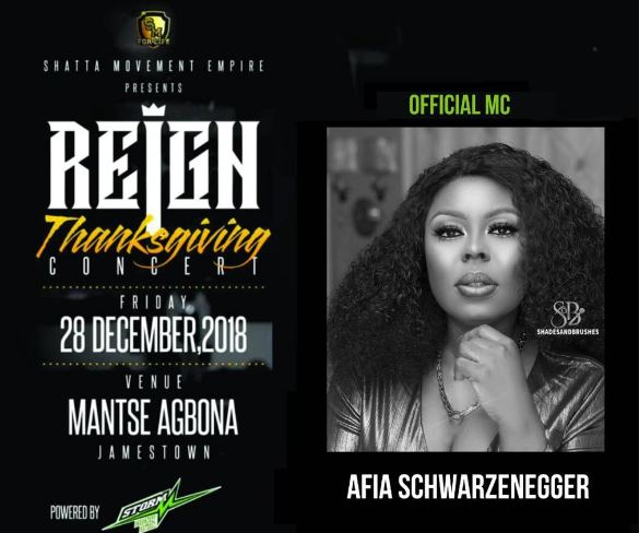 Shatta Wale Thanksgiving concert host Afia Schwarzenegger