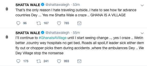 Shatta Wale reveals why Ghana is a village