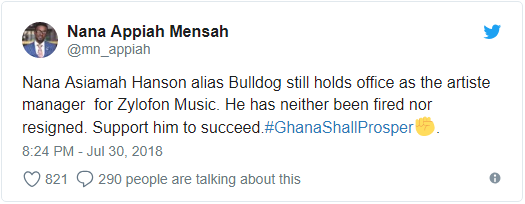 nam1 denies sacking of Nana Asiamah Hanson also known as Bulldog