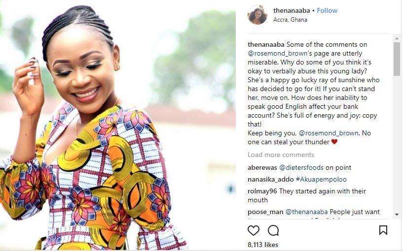 nana aba defends rosemond