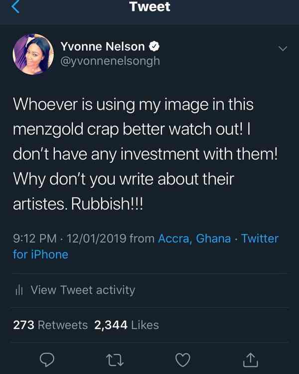 No investment with Menzgold Yvonne Nelson | Airnewsonline
