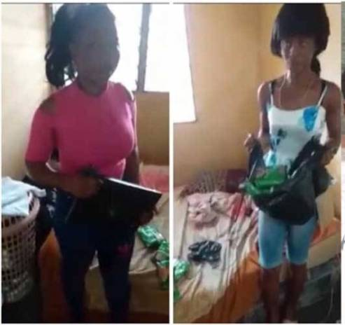 slay queens caught stealing laptop indomie | Airnewsonline